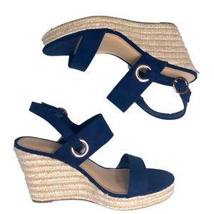 LC Lauren Conrad Blue Strap Beachy Wedges Heels